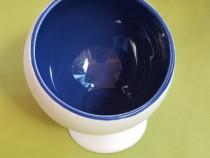 RD174 Suport de lumanare alb cu albastru semiluna