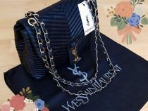 Geanta Ysl,logo metalic auriu, Franta, saculet,eticheta