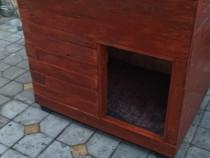 Cusca caine, solida, izolata termic, din lemn integral