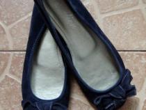 Balerini din material textil bleumarin, cu fundita