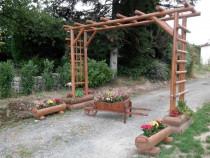 Pergole rustice cu bacuri pentru florii