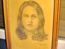 2526-Tablou vechi Portret- Tanara creion S. Serfozopan.