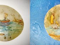 3913-2 Aplice mici pictura tema marina LIEBEHART B. Ulei.