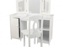 SEAC101 - Set masuta, scaunel, oglinda printese lemn alb