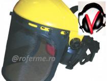 Viziera protectie motocoasa cu plasa metal si antifoane