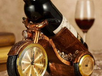 Suport sticla de vin cu ceas si termometru