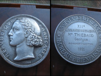 Medalie veche Asistentii Publici Franta, bronz argintat, 4cm