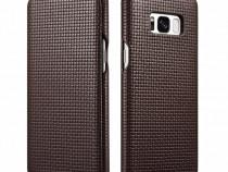 Husa piele naturala iCarer Woven Samsung S8 Plus negru,cafea