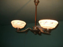 Lustra vintage cu 3 brate si abajur sticla