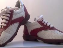 Pantofi piele noi pentru copii, marime 28, comb. rosu cu alb