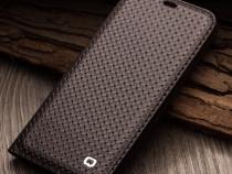 Husa slim piele naturala qialino iphone x, tip carte, coffee