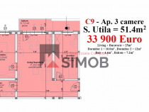 Apartament de 3 camere suprafata 58.6 mp calea cisnadiei
