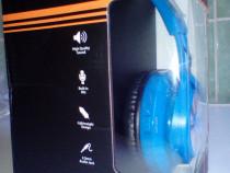 Casti audio bluetooth model CHBT-612 culoare albastru (nou)