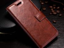 Husa piele fina iphone x, tip portofel, cu snur, negru,maro