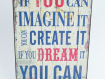 Tablou vintage cu mesaj motivational - 40 x 24 cm - Nou