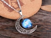 Colier Lantisor Pandantiv Medalion cu in forma de luna soare