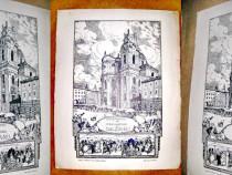 Biserica Studien Kirsche Salzburg Austria gravura alb negru