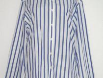 Camasa unisex, Zara man, din bumbac alb, cu dungi albastre