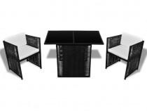 Set mobilier de exterior 7 piese, poliratan, negru (42484)