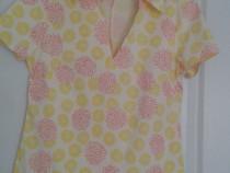 Bluza alba cu flori galbene si rosii cu guler 38