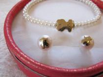 Set TOUS bratara cercei de aur 18k cu perle naturale