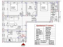 Turnisor apartament 3 camere 2 bai conf 1 la alb 64+4 mp