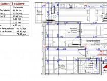 Apartament 3 camere 2 bai la alb 61+5 mp et 1  Turnisor