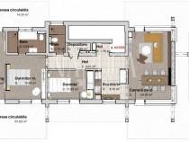 Apartament 3 camere, 94 mp, balcon, terasa, Borhanci