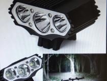 Far bicicleta / lanterna 3 x Led CREE XM-L T6 6000 lumeni
