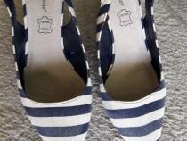 Pantofi dama alb-albastru cu dungi - 37