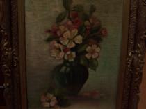 Tablou / pictura cu rama veche, ulei pe panza, semnat, 1935