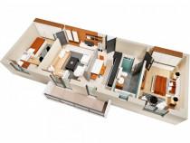 Apartament 3 camere 64 mp, bloc nou finalizat, rond cug