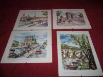 4 tablouri cu imagini din franta 30x25 cm pret pe bucata