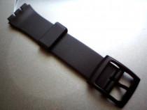 Curea swatch plastic de 17mm latime, neagra si transparenta.