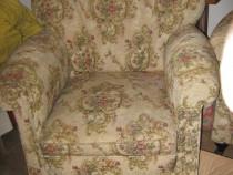 Canapea 3 locuri lemn masiv cu 2 fotolii