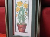 Tablou vintage Narcise-Fiona Butler -rama lemn -un cadou