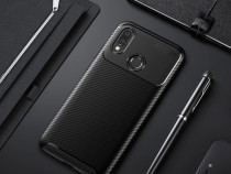 Huawei p20 lite husa carbon slim din silicon neagra maro alb