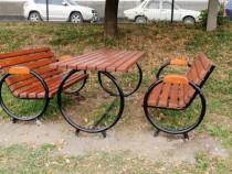 Set masă cu bănci metalice Bill, mobiler urban
