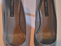 Pantofi dama mango noi lacuiti,nr.37,gri inchis,platforma 12