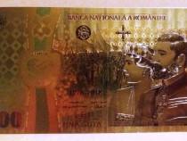 Bancnota 100 LEI Unire 2018 Centenar aur 24k gold colectie