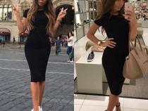 Rochie-tricou neagră lungă sport/elegantă