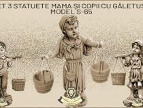 Set 3 statuete, mama si copii cu galetuse, model S65.