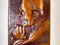 A431-Papa Ioan Paul al 2 lea-metaloplastie cupru pe placaj.
