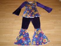 Costum carnaval serbare hippie floare pentru adulti marime M