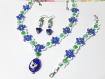 Set floral albastru din 3 piese