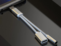 Adaptor Type C Dublu Type C + Jack Casti Compatibil Huawei S