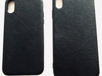 Iphone X XS XS MAX - Husa Neagra Silicon Imitatie Piele