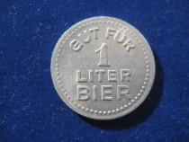 2372-I-J.U.A.P. Bier-Fisa de bere germana, metal 2.5cm.