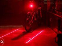 Lampa,lumina,stop cu 2lasere si 5led-uri bicicleta-nou+bater