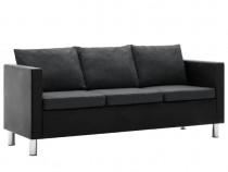 Canapea cu 3 locuri, piele ecologică, negru 247169